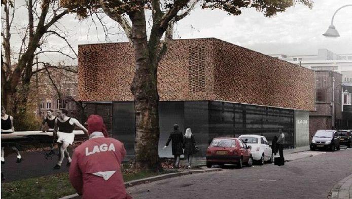 Aangepast bouwplan voor de uitbreiding van gebouw roeivereniging Laga in Delft.