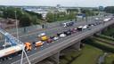 Terug van weggeweest: de files op de A15. Een beeld van de snelweg bij Gorinchem eerder deze week.