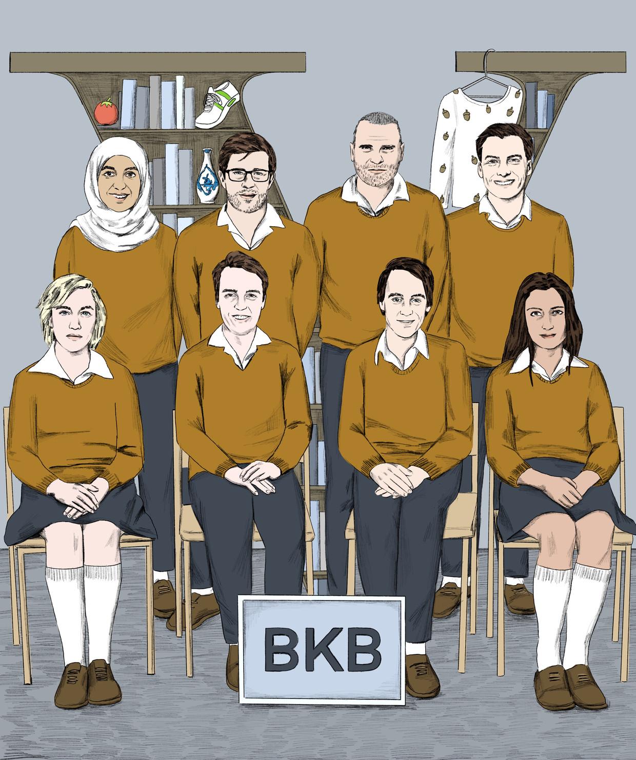 Alumni van de BKB Academie, bovenste rij vanaf links: Kauthar Bouchallikht, Toine Donk, Alex Klusman, Thierry Baudet.  Onderste rij vanaf links: Charlotte Bouwman, Sywert van Lienden, Alexander Klöpping, Shermin Chavoushi.  Beeld Jip van den Toorn