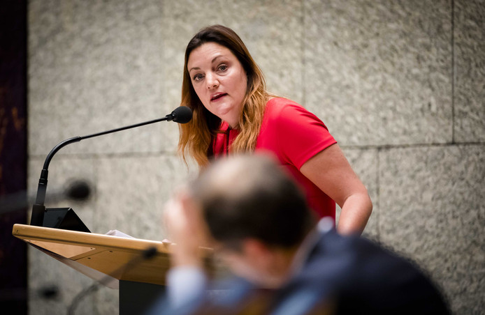 Sandra Beckerman (SP) tijdens het debat in de Tweede Kamer over de gaswinning in Groningen
