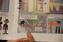 Een detailbeeld uit een van de strips.