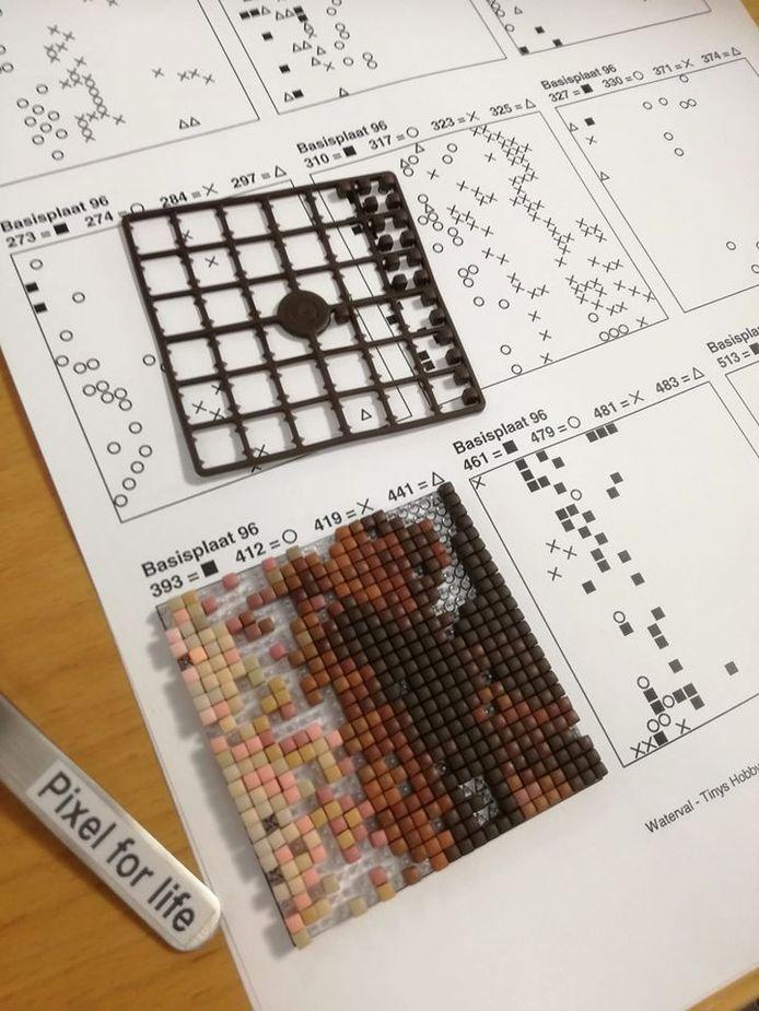 Het maken van de plaatjes, met blokjes van 2,5 op 2,5 millimeter, is een heel werk. Alle hulp is welkom.