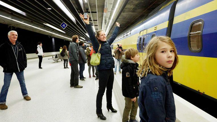 De spoorlijn in de Nederlandse stad Delft is ondergronds gegaan. Beeld ANP