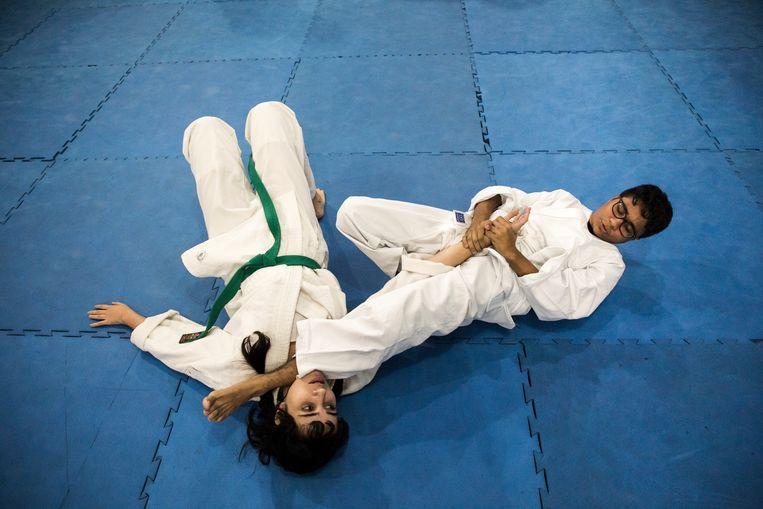 Een Krav Maga training op het 'Fight Training Center' in Rio de Janeiro. Beeld Valda Nogueira / Getty