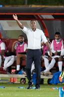Patrick Kluivert als interim-bondscoach van Curaçao vanwege de afwezigheid van Guus Hiddink.