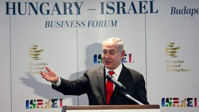 Benjamin Netanyahu tijdens zijn speech op 19 juli 2017 in Boedapest, Hongarije: 'Stop met het aanvallen van Israël. Steun het land.' Beeld null