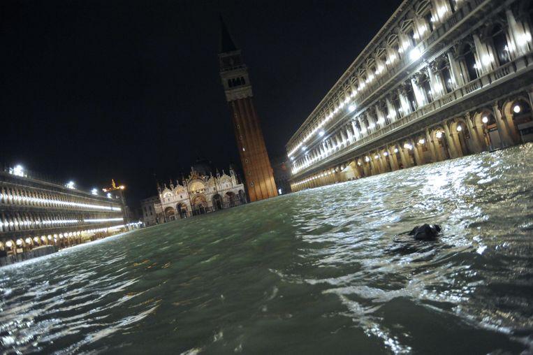 Het volledig overstroomde Piazza San Marco. Beeld EPA
