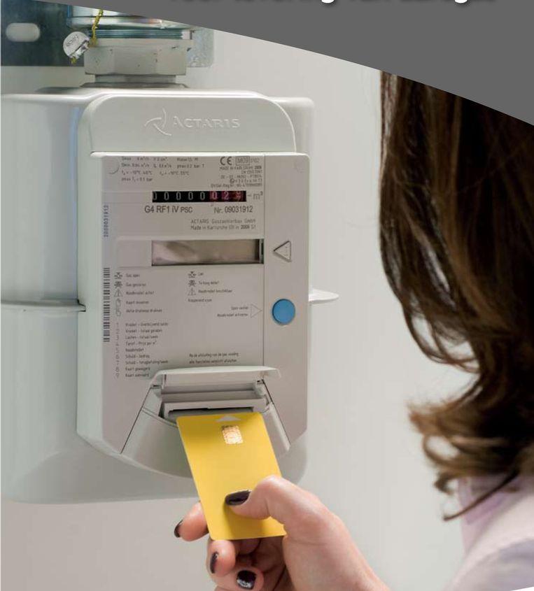 Een budgetmeter voor aardgas, op te laden met een prepaidkaart. Beeld rv