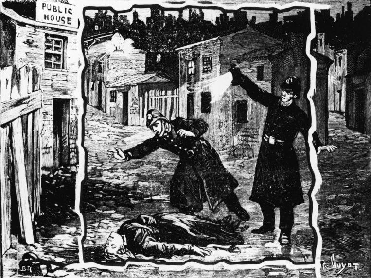 Een illustratie waarbij agenten het lichaam van een slachtoffer van Jack the Ripper ontdekken. Beeld getty