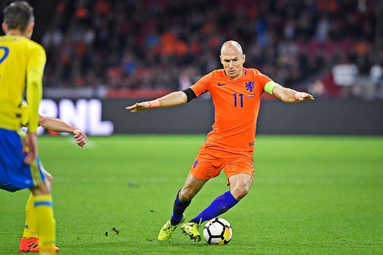 Arjen Robben in wat nog steeds zijn laatste interland is: tegen Zweden op 10 oktober 2017. Beeld Guus Dubbelman / de Volkskrant
