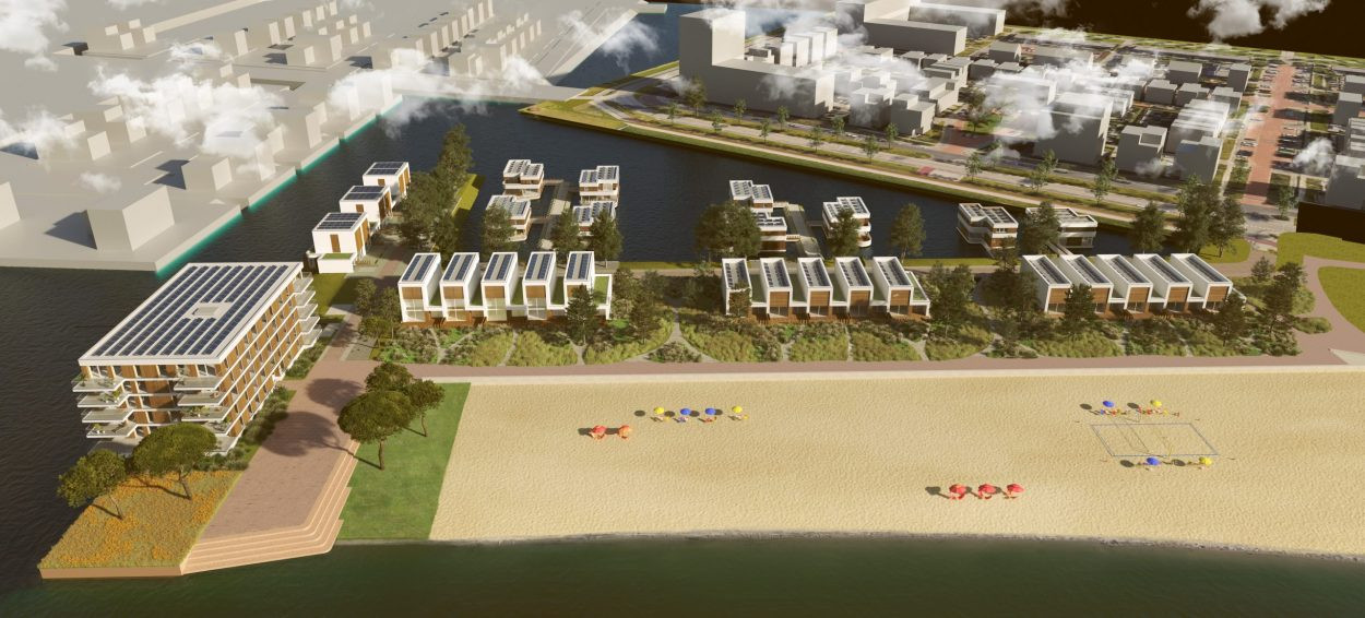 Strand Noord in Nesselande bestaat uit steigervilla's, strandhuizen,  kadewoningen en links het appartementencomplex.
