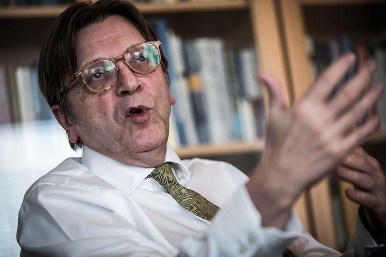 Verhofstadt in Brussel: 'De brexit wordt gebruikt om elkaar te beschieten. Zo kom je er moeilijk uit.' Beeld BAS BOGAERTS