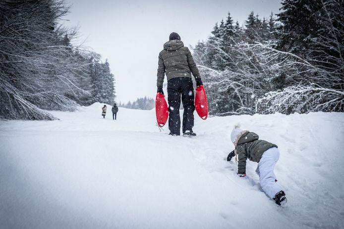 Op Baraque de Fraiture sneeuwt het nog wel.