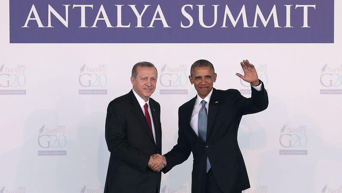De Turkse president Tayyip Erdogan en de Amerikaanse president Barack Obama in Antalya.
