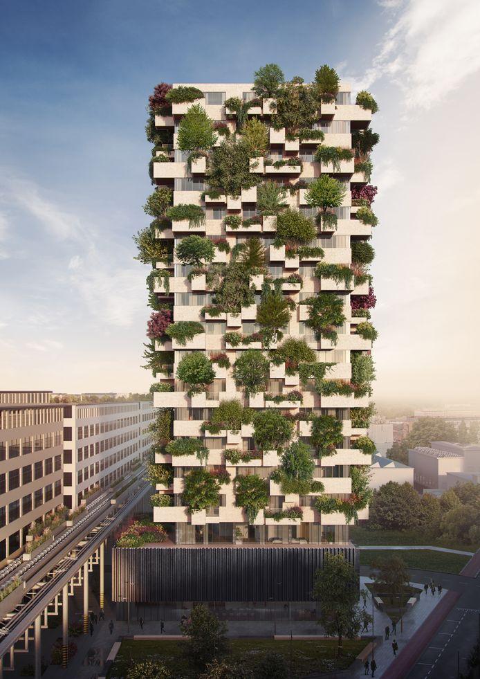 Een impressie van de Trudo Toren van de Italiaanse architect Stefano Boeri, die in aanbouw is op Strijp-S.