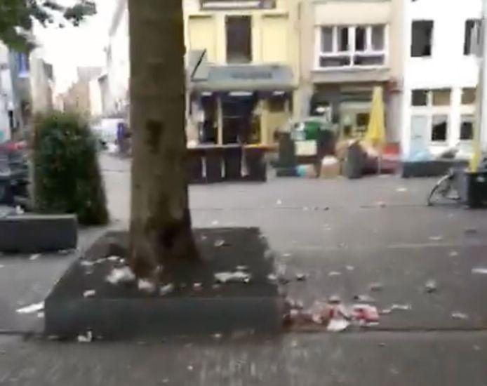 De Ossenmarkt is herschapen in een vuilnisbelt. Een still uit het filmpje dat buurtcomité Stadscampus maakte
