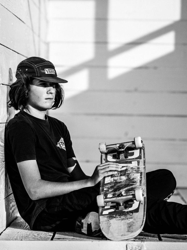 Poperinge, Danzel (14), skater: 'Er is hier weinig volk 's avonds.' Beeld Jelle Vermeersch