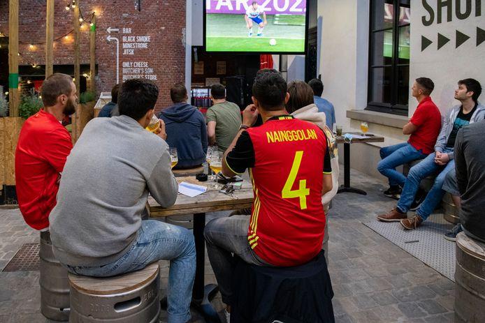 Het bleef vrij rustig tijdens de eerste match van de Rode Duivels op de site van Stadsbrouwerij De Koninck.