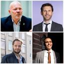 Met de klok mee vanaf linksboven: raadsleden Robert Simons (Leefbaar), Jeroen Postma (GroenLinks), Faouzi Achbar (Denk) en Dennis Tak (PvdA).