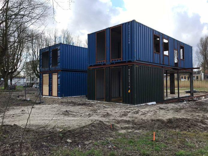 Contour bouwde huizen met behulp van zeecontainers als basisconstructie, hier aan de Troelstrahof in Dordrecht.