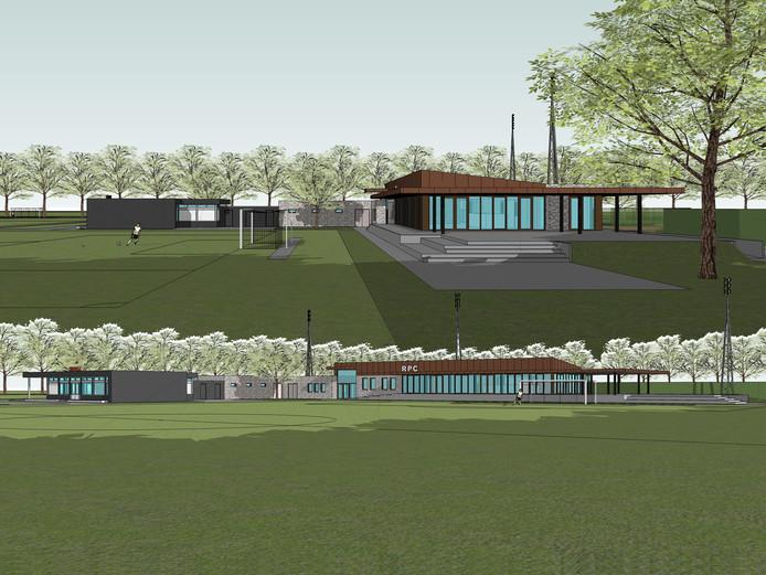 Zo gaat sportpark De Heihoef aan de Roostenlaan in Eindhoven eruit zien na de nieuwbouw voor RPC (rechts) en de opknapbeurt voor het clubgebouw van Tivoli (links). Ook komen er  19 nieuwe kleedlokalen voor beide clubs en enkele andere ruimtes.