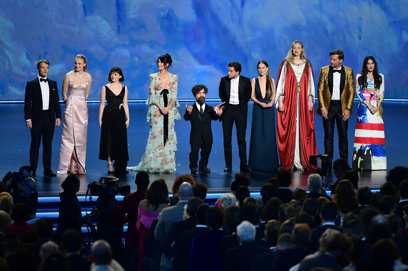 De cast van 'Game of Thrones' (HBO) tijdens de Emmy Awards in het Microsoft Theatre in Los Angeles.