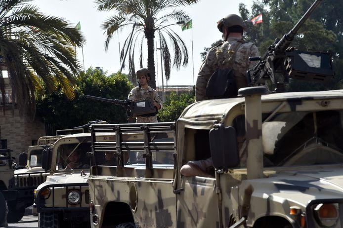 Des soldats de l'armée libanaise prennent position dans le quartier de Tayouneh, dans la banlieue sud de Beyrouth, Liban, 14 octobre 2021.