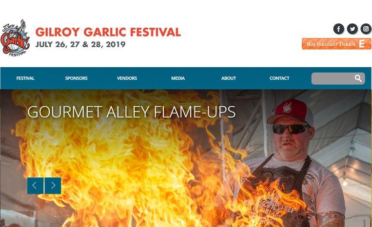 De website van het Gilroy Garlic Festival
