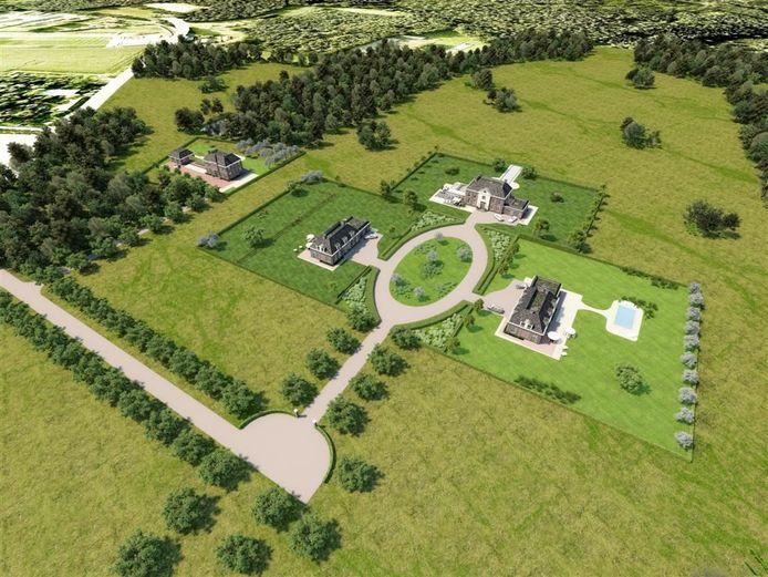 Zo moest Landgoed 't Lot er vanboven uit gaan zien: er bleken echter geen kopers voor de statige landhuizen te vinden.