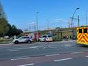 De hulpdiensten aan het station Sint-Pieters.