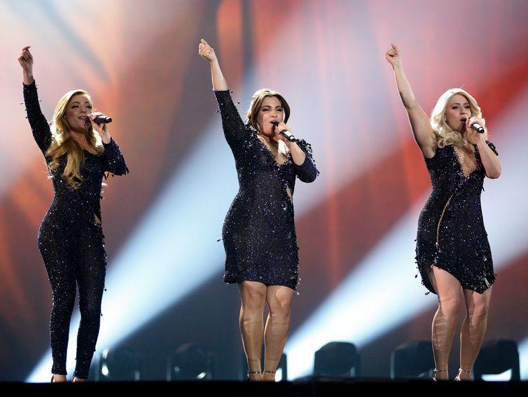 Nederland in actie tijdens de repetities van het Eurovisiesongfestival. Beeld AP