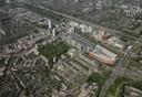 Een impressie van de Alexanderknoop vanuit de lucht: het gebied rond winkelcentrum Alexandrium en het NS-station moet uitgroeien tot een nieuw stadshart in Rotterdam.