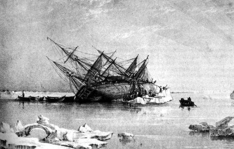 De 31 meter lange Terror was een oorlogsschip dat samen met het vlaggenschip van onderzoeker John Franklin, de HMS Erebus, in het ijs kwam vast te zitten. Beeld wikimedia