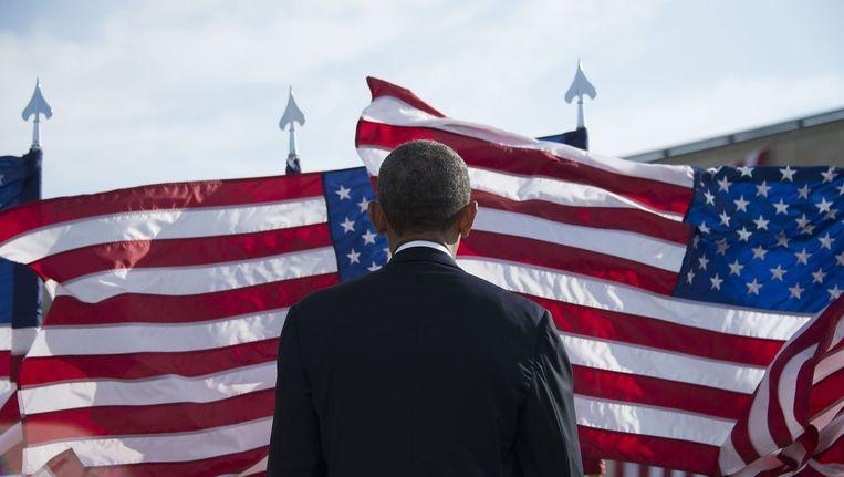President Obama gisteren in Washington bij de herdenking van de aanslagen van 11 september 2001. Beeld AFP