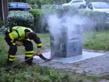 Ondergrondse container in brand in Breda