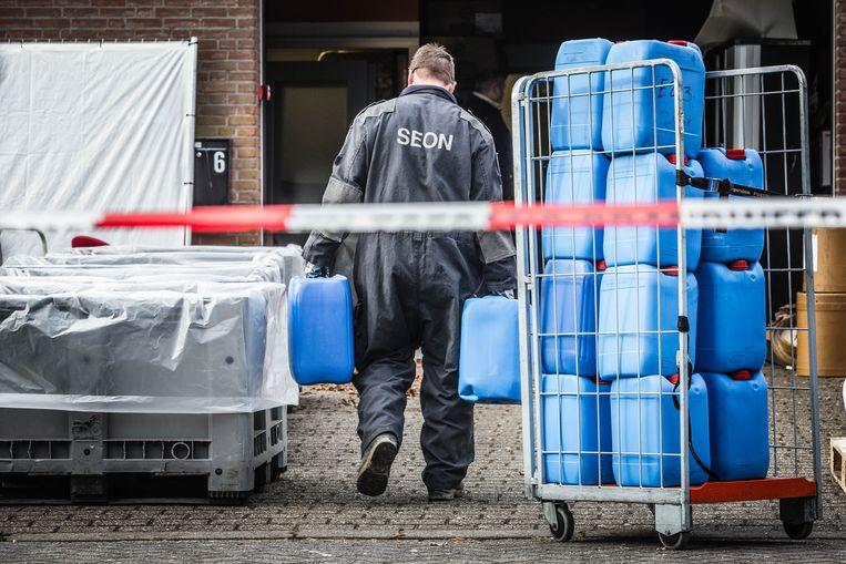 De ontmanteling van een drugslab in Eindhoven. Beeld ANP