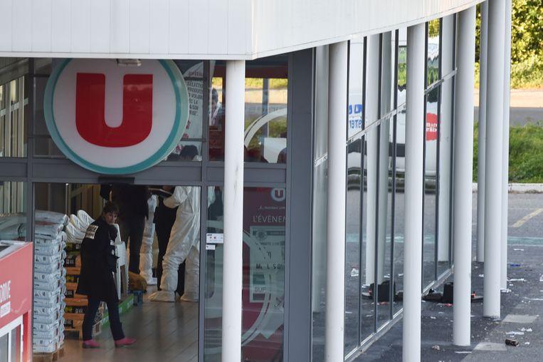 De Super U-supermarkt in Trèbes, waar de aanslag plaatsvond Beeld AFP
