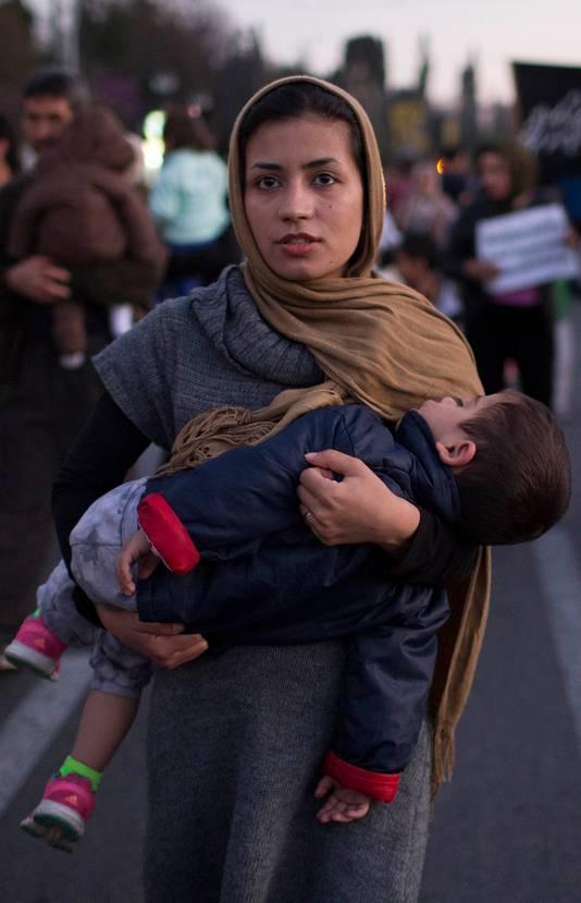 Protest in Athene tegen de overeenkomst die Europa met Turkije sloot over het terugsturen van vluchtelingen