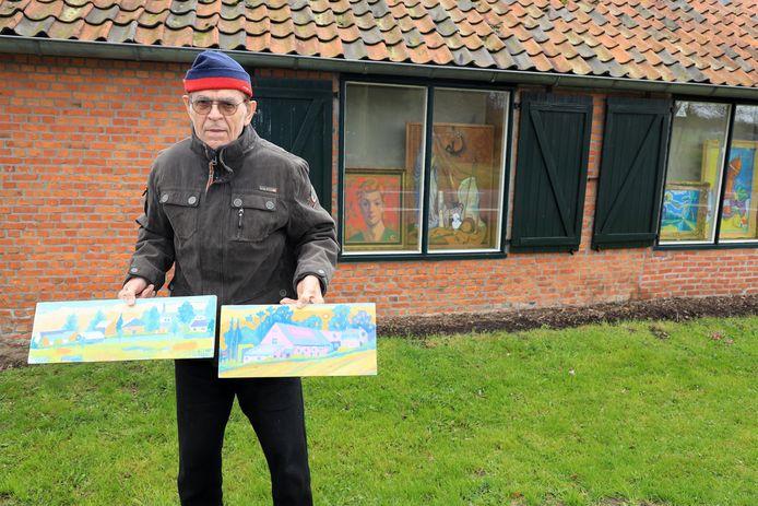 Kunstenaar Michiel Holtgreve exposeert zijn werk achter de ramen van zijn atelier aan de Ellestraat in Heikant.