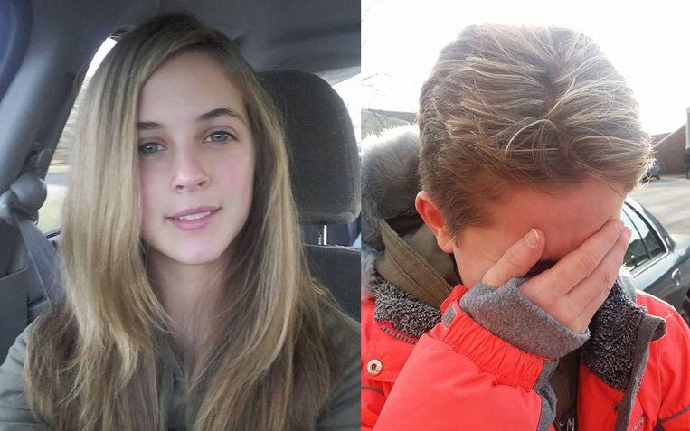 """Kelsey (13) keerde van de kapper terug met mèches, maar daar konden haar vader en stiefmoeder niet mee lachen. """"Als straf werd ze kortgeknipt"""", beweert haar mama."""