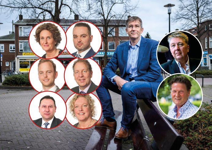 Fractievoorzitter David Schalken blijft in zijn eentje in de gemeenteraad over bij Beter Voor Dordt, nadat Loudy Nijhof (linksboven), Osman Soy (rechtsboven), Herman van der Graaf (linksmidden), Robbert de Boer (rechtsmidden), Aydin Gündogdu (linksonder) en Marieke van Eck (rechtsonder) opstapten.  Behalve David Schalken maken wethouders Marco Stam (boven) en Piet Sleeking (onder) nog onderdeel uit van Beter Voor Dordt.