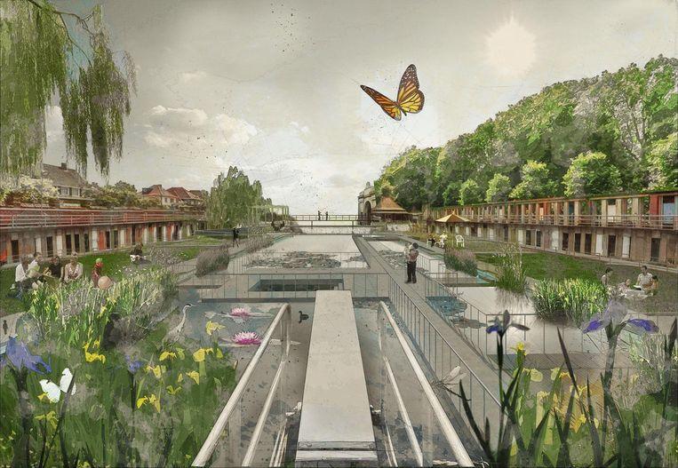 Een eerste schets van het vijverpark, die na twee participatiemomenten nog aangepast kan worden.