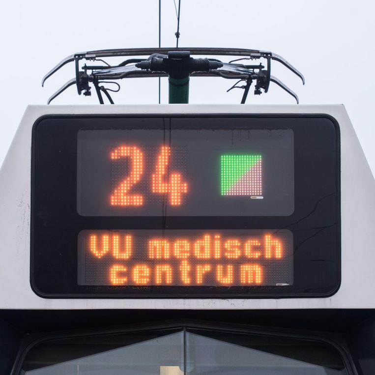Tram 24 met als eindbestemming het VUmc Beeld Simon Lenskens