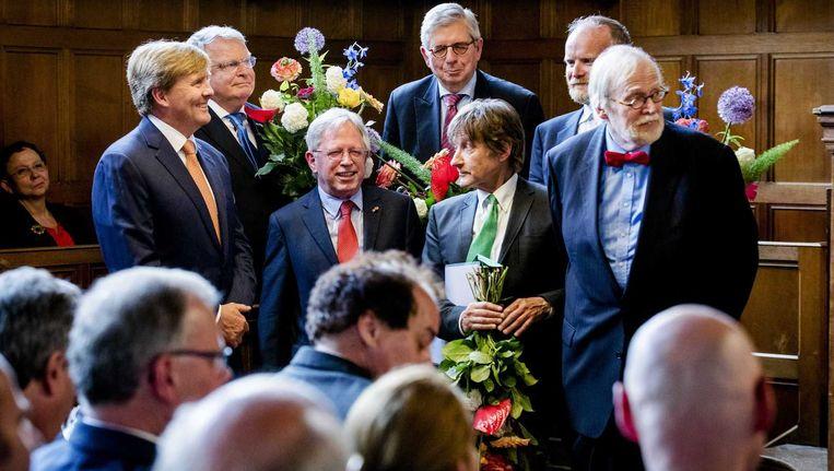 De koning op het jubileum in Leiden. Beeld anp