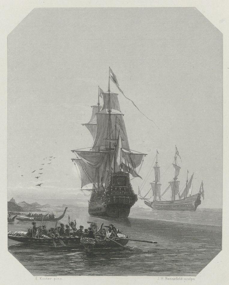 Aankomst van Abel Tasman in Nieuw-Zeeland (1865) door Johannes Heinrich Maria Hubert Rennefeld. Beeld Getty Images
