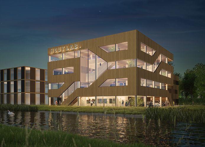 Een voorlopige impressie van het toekomstige houten bedrijfsgebouw van Woody Building Concepts. De gemeente Heusden buigt zich nog over het ontwerp.