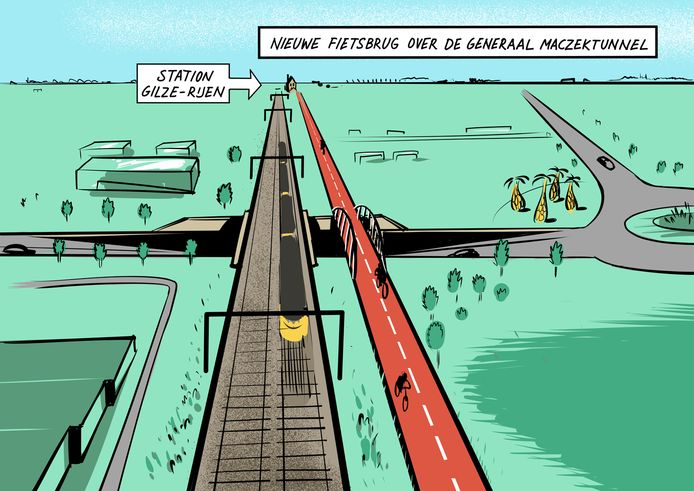In Rijen komen drie fietsviaducten zodat de gebruikers van de nieuwe snelfietsroute F58 zo weinig mogelijk obstakels tegenkomen.  Deze geeft een beeld van de situatie bij de Generaal Maczektunnel.