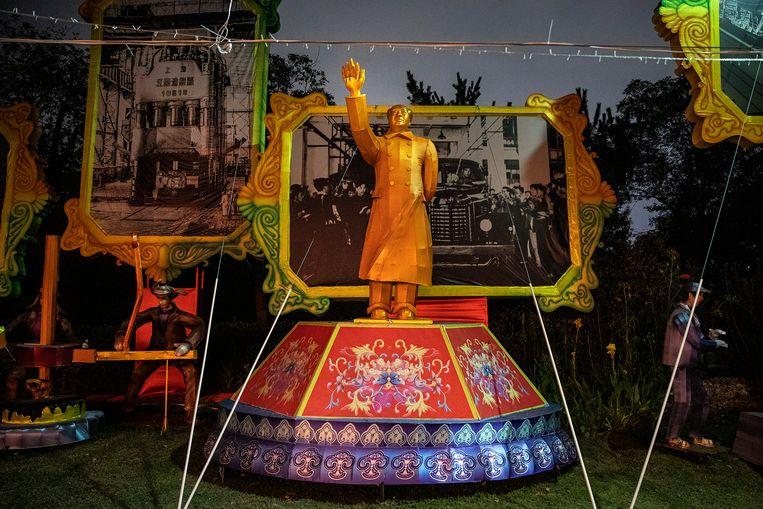 Een lantaarn met Mao Zedong in Wuhan. Beeld Getty Images