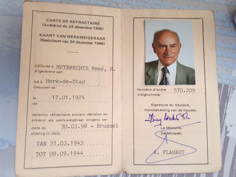 Later kreeg René officiële erkenning als werkweigeraar onder de Duitsers. Beeld RV