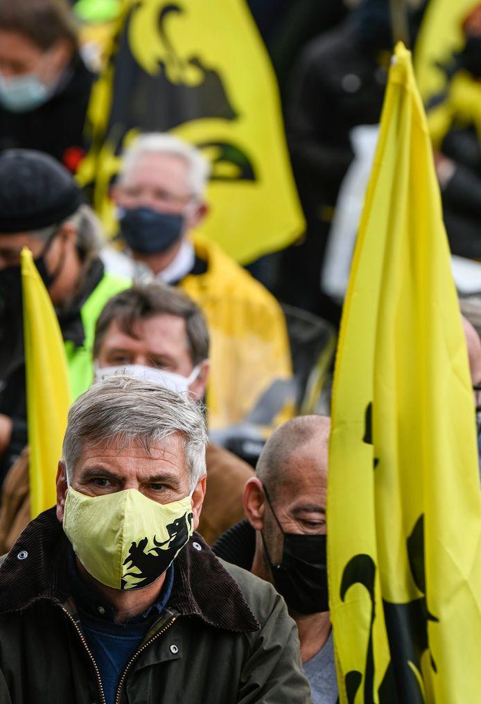 Filip Dewinter tijdens de protestactie van Vlaams Belang gisteren.